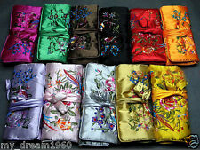 Wholesale5pcs Chinese Vintage Embroidery Silk Jewelry Rolls Pouch Gift Bag Purse