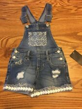 NWT Jordache girls denim Short Overalls S 6- 6X Embroidered Floral Cute