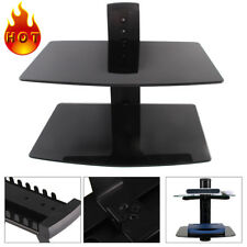 2 Tiers Durable Shelves Glass CD DVD Players Games Consoles Sky Box Wall Mount