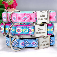 Floral Personalised Dog Collars Soft Nylon Padded Pet Dogs ID Nameplate Engraved