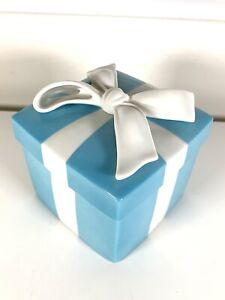"Tiffany & Co. ~ 4.3"" Porcelain Blue Trinket Jewelry Ceramic Box - Made In Japan"