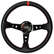 350mm Black PVC Leather Red Stitch Deep Dish Steering Wheel Horn Button MUGEN