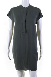 Vince Womens Silk Short Sleeve Shift Dress Gray Size Small