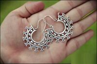 Large Tribal Brass Earrings Gypsy Hoop Ethnic Festival Indian boho Jewellery W69