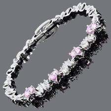 Round Cut Pink Sapphire 18K White Gold Plated Cubic Zirconia Tennis Bracelet