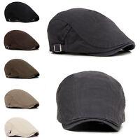Men's Solid Cotton Gatsby Cap Golf Driving Sun Flat Cabbie Beret Newsboy Ivy Hat
