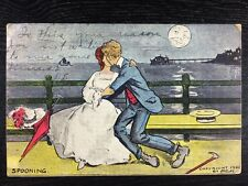 Couple Spooning & Kissing Under the Moon Risque Undivided Back Postcard 1907