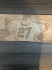 Mike Trout image engraved on birch plywood with laser engraver