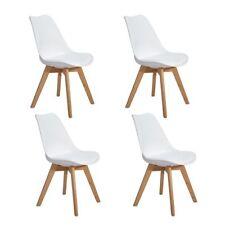 4 Sillas suaves silla de comedor de oficina de color blanca con pies de madera