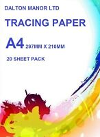 A4 TRACING  PAPER 20 SHEET PACK ART  CRAFT CALIGRAPHY