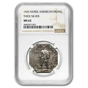 1925 Norse-American Centennial Medal MS-62 NGC (Thick) - SKU#229968