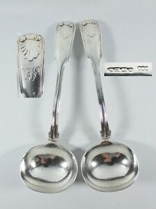Antique Victorian 1856 Pair of Sterling Silver Sauce Ladles Fiddle Thread Shell