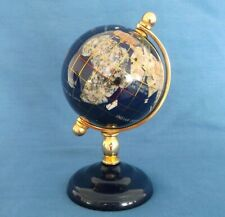 BLUE LAPIS GEMSTONE GLOBE WORLD STAND SMALL TABLE TOP DESK SIZE HEIGHT 15½cm