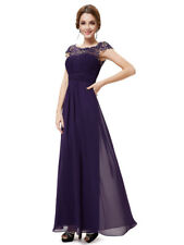 Ever-Pretty Dark Purple Long Cap Sleeve Wedding Dresses Evening Ball Gowns 09993