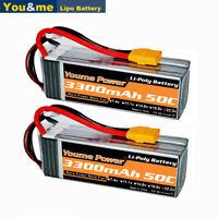 2pcs 22.2V 3300mAh 6S LiPo Battery 50C XT90 for RC Car Truck Boat 135x42x42mm