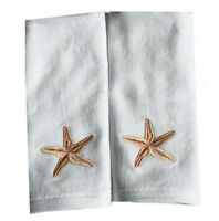 Starfish Fingertip Towels Set of 2 Embroidered Guest Bathroom Summer House
