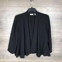 Chico's Women's Size 2 Open Front Lightweight Blazer Jacket Black Draped