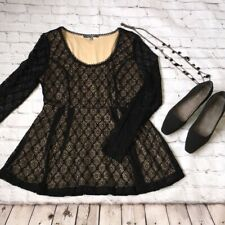 Catherine Maladrino for Design Nation Long Sleeve Black Lace Top. Size S