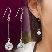Hot Long Earrings Women Silver Hook Crystal Round Ball Drop Dangle Earring SP