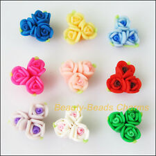5Pcs Mixed Polymer Fimo Clay Flower Leaf Spacer Beads Charms 17mm