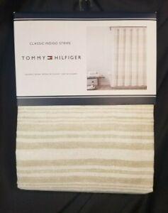 Tommy Hilfiger Shower Curtain 72x72 Classic Indigo Stripe Beige Ivory