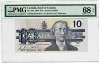 Canada $10 Dollars Banknote 1989 BC-57b PMG Superb GEM UNC 68 EPQ