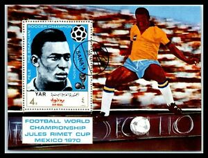 1970 YEMEN Souvenir Sheet-Football World Cup, Mexico Q1