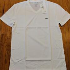 Mens Authentic Lacoste Pima Cotton V-Neck T-Shirt White 7 2XL $49