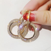 Luxury Round Earring Women Crystal Geometric Hoop Earring Jewelry Christmas Gift