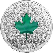 Canada 2014 Silver Maple Leaf Impression Green Enamel $20 1 Ounce Pure SML