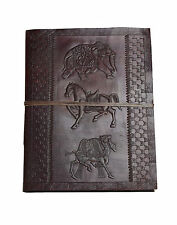 Golden Age XXL Leather Guest Book Diary PREMIUM PAPER Handmade Camel Horse India