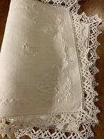 Antique Hand Embroidered Centerpiece/Table Scarf~Crochet Border Berlin Work