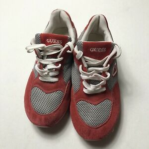 Vintage Guess Sport Sneaker Size 8 Red Suede