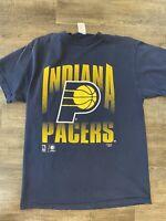 VTG 90s Indiana Pacers NBA Big Logo Blue Basketball T Shirt Men's Large