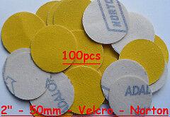 "50mm 120 Grits 100pcs Hook & Loop 2"" Sanding Discs Made By NORTON UK"