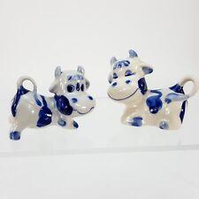 Enesco Vintage Ceramic Cow Figurine Boy Girl Set Blue White Japan