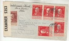 Portugal Censored Airmail Cover
