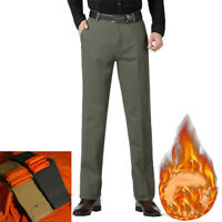 Mens Winter Thick Thermal Chino Fleece Lined Pants Cotton Warm Trousers Jeans