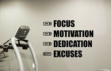 Fitness Motivational Gym Wall Decal Focus Excuses Vinyl Sticker Art Mural 103fit