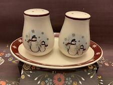 Royal Seasons Stoneware Snowman Salt & Pepper Shaker w/Underplate Holiday Decor