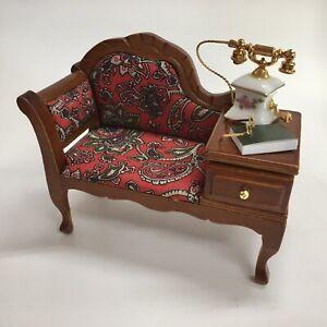 Reutter Porcelain Miniature Dollhouse Paisley Telephone Sofa 1:12 Scale