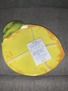 Shabby Chic 100% Melamine Yellow Lemon Set Of 4 Appetizer Plates NWT