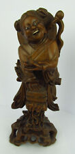 More details for large chinese carved hardwood figure of a woman with a box of bats