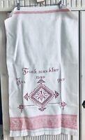 Jugendstil bestickt Überhandtuch Überschlagtuch weiß rot Spruch Behang