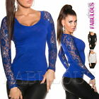 Sexy Womens Lace Crochet Jumper Sweater Pullover Knit Top Size 8 10 / US 4 6 S M