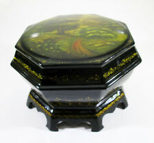 Russian Lacquer box style Fedoskino Summer Nature Forest Hand Painted #83