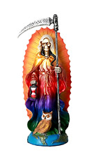 "Santa Muerte Saint of Holy Death Standing Religious Statue 7.25"" Rainbow Tunic"