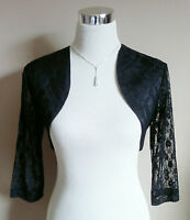 Black Lace & Satin Bolero/Shrug/Shawl/Cropped Jacket/Stole/Tippet/Wrap 3/4 New