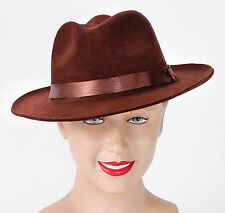Brown Hat Fedora Gangster 1920s 1930s Freddie Krueger Indiana Jones Fancy Dress