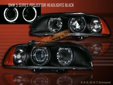 1997-2003 BMW E39 TWO HALO PROJECTOR HEADLIGHTS BLACK 1998 1999 2000